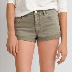 American Eagle High-Rose Denim Shortie Shorts
